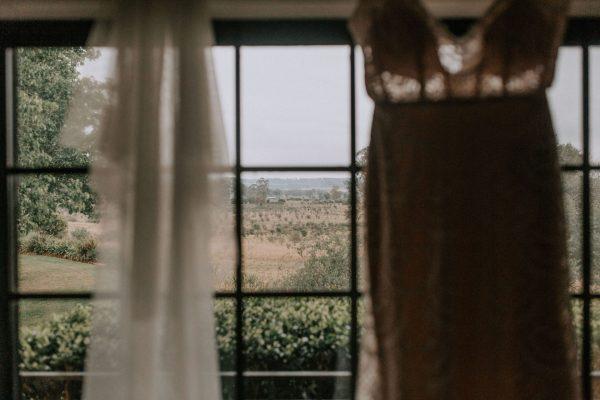 View of razorback with wedding dress